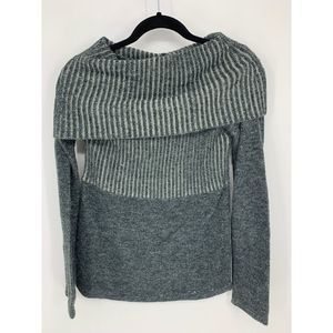 Tulle blue gray M cowl sweater embellished